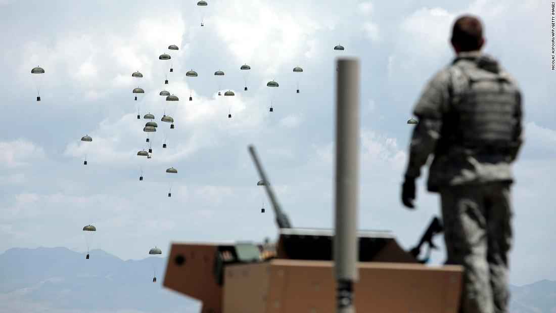 Supplies are dropped to US troops in Afghanistan's Ghazni province in May 2007.