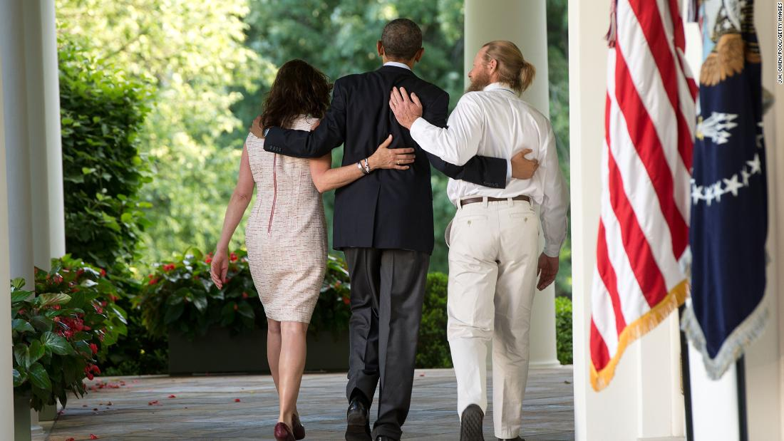 "US President Barack Obama walks with the parents of Army Sgt. Bowe Bergdahl after making a statement at the White House about <a href=""http://www.cnn.com/2014/05/31/world/asia/afghanistan-bergdahl-release/index.html"" target=""_blank"">Bergdahl's release</a> in May 2014. Bergdahl had been held captive in Afghanistan for nearly five years, and the Taliban released him in exchange for five U.S.-held prisoners."