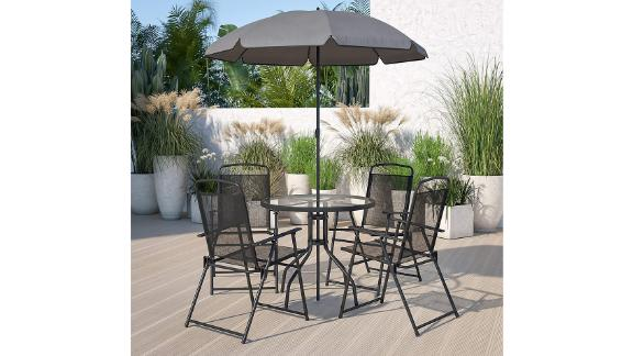 Flash Furniture Nantucket 6-Piece Black Patio Garden Set