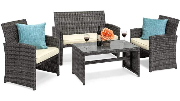 Best Choice Products 4-Piece Wicker Patio Conversation Set