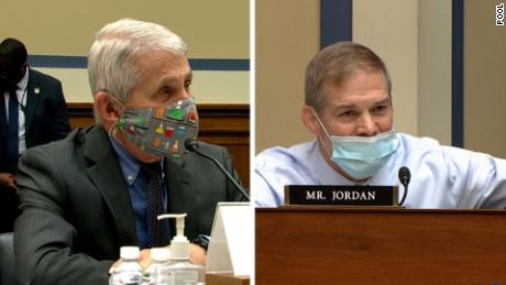 Dr. Anthony Fauci, left, and Republican Rep. Jim Jordan sparred over whether Covid-19 restrictions violated Americans' civil liberties.