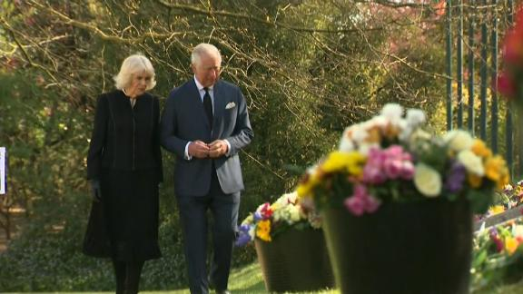 Prince Charles and his wife Camilla, Duchess of Cornwall, took in flowers left in tribute to his recently deceased father Prince Philip. The flowers had initially been left outside Buckingham Palace but were moved over the road to Marlborough House.