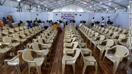 A vaccination center in Mumbai, India, that had to turn people away due to a shortage of vaccines on April 9th.