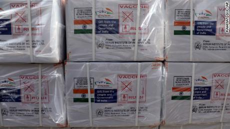 Boxes of AstraZeneca vaccine, manufactured by the Serum Institute of India and donated by the Indian government, arrive on February 7, 2021 in Kabul, Afghanistan.