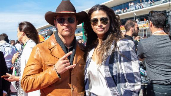 Matthew McConaughey and his wife Camila Alves attend the F1 Grand Prix of USA at Circuit of The Americas in Austin, Texas on November 03, 2019. (Photo by SUZANNE CORDEIRO / AFP) (Photo by SUZANNE CORDEIRO/AFP via Getty Images)