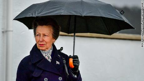 The Princess Royal during her visit to the Royal Victoria Yacht Club in Cowes on the Isle of Wight.