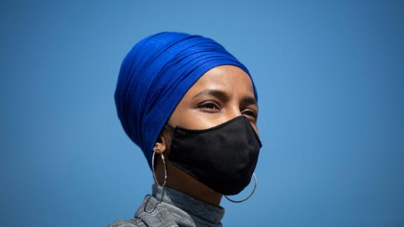 Rep. Ilhan Omar, D-Minnesota, attends a news conference on rent and mortgage cancellation in Washington on Thursday, March 11, 2021.
