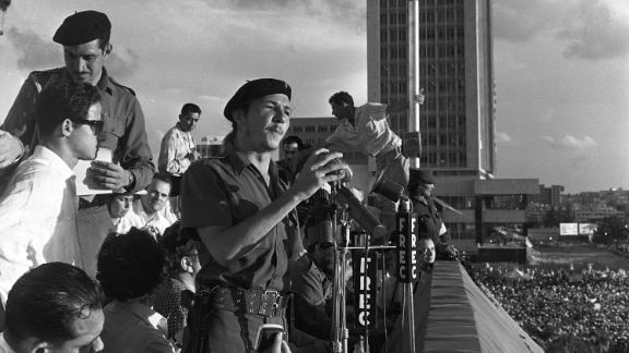 Castro speaks to a crowd in Havana on July 26, 1959, at an event marking the anniversary of the 1953 attack on the Moncada barracks. Castro's brother Fidel led the attempted coup against Fulgencio Batista's government. Both brothers were sentenced to 15 years in prison but were released less than two years later as part of an amnesty for political prisoners. The attack on the military barracks is viewed as the beginning of the Cuban Revolution.