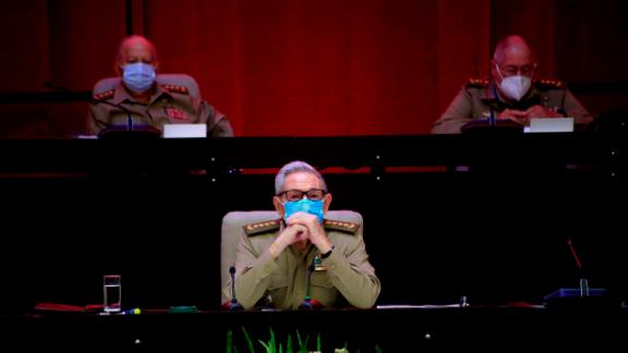 Castro attends the opening session of the 8th Congress of the Communist Party of Cuba in Havana on April 16, 2021.
