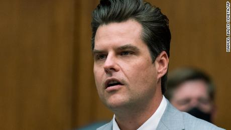 In this Wednesday, April 14, 2021 file photo, Rep. Matt Gaetz, R-Fla., questions witnesses during a House Armed Services Committee hearing on Capitol Hill, in Washington.