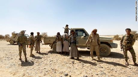 Yemeni soldiers at the frontline of the strategic city of Marib.