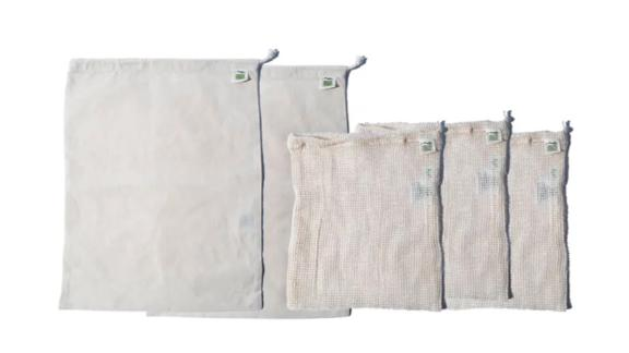 Package Free x Ecobags 5-Pack Organic Cotton Produce Bags