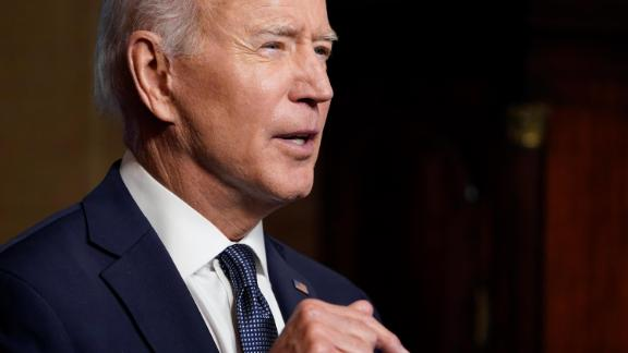 Biden speaks from the Treaty Room in the White House on April 14, 2021 in Washington, DC.