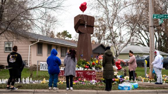 Daunte Wright's siblings visited the memorial for their brother in Brooklyn Center, Minnesota last week.