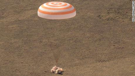 The Soyuz MS-17 spacecraft is seen as it lands in a remote area near the town of Zhezkazgan, Kazakhstan with Expedition 64 crew members Kate Rubins of NASA, Sergey Ryzhikov and Sergey Kud-Sverchkov of Roscosmos, Saturday, April 17, 2021. Rubins, Ryzhikov and Kud-Sverchkov returned after 185 days in space having served as Expedition 63-64 crew members onboard the International Space Station. Photo Credit: NASA/Bill Ingalls