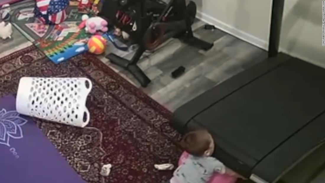 Video shows child getting caught under Peloton treadmill  image