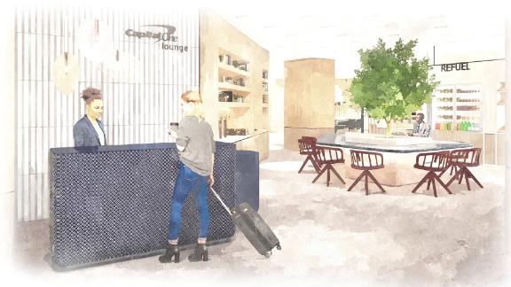 A rendering provided by Capital One of the entrance to one of its new lounges.
