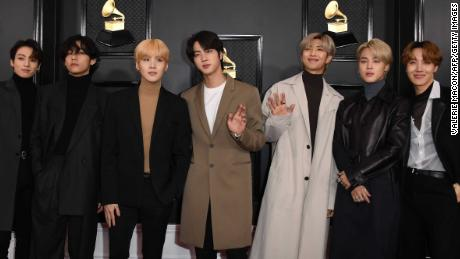 South Korean boy band BTS arrives for the 62nd Annual Grammy Awards on January 26, 2020, in Los Angeles. (Photo by VALERIE MACON / AFP) (Photo by VALERIE MACON/AFP via Getty Images)