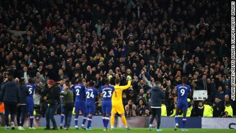 Chelsea players applaud their fans after victory over Tottenham in December 2019.