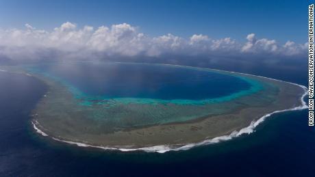 Ariel view of Navatu Reef on the Lau Group (©Ron Vave).