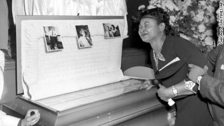 Mamie Till-Mobley weeps at her son's funeral on September. 6, 1955, in Chicago.