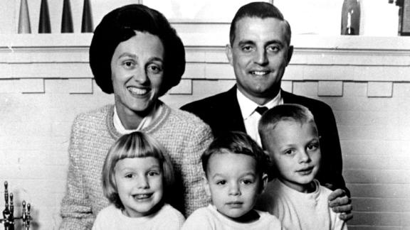 Joan and Walter Mondale pose for a family photo with their kids Eleanor, William and Ted, in Minneapolis on October 21, 1964.