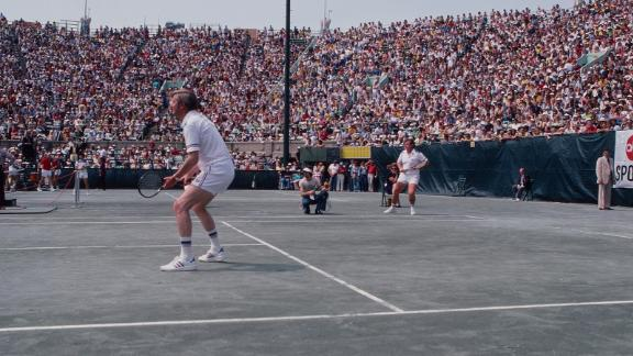 Vice President Mondale and Sen. Ted Kennedy play doubles in the RFK Tennis Tournament on August 26, 1977, in the Queens borough of New York.
