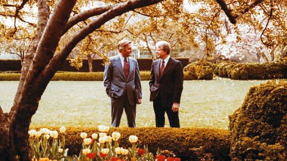 Mondale and President Carter talk together in the Rose Garden of the White House on April 13, 1978, in Washington, DC.