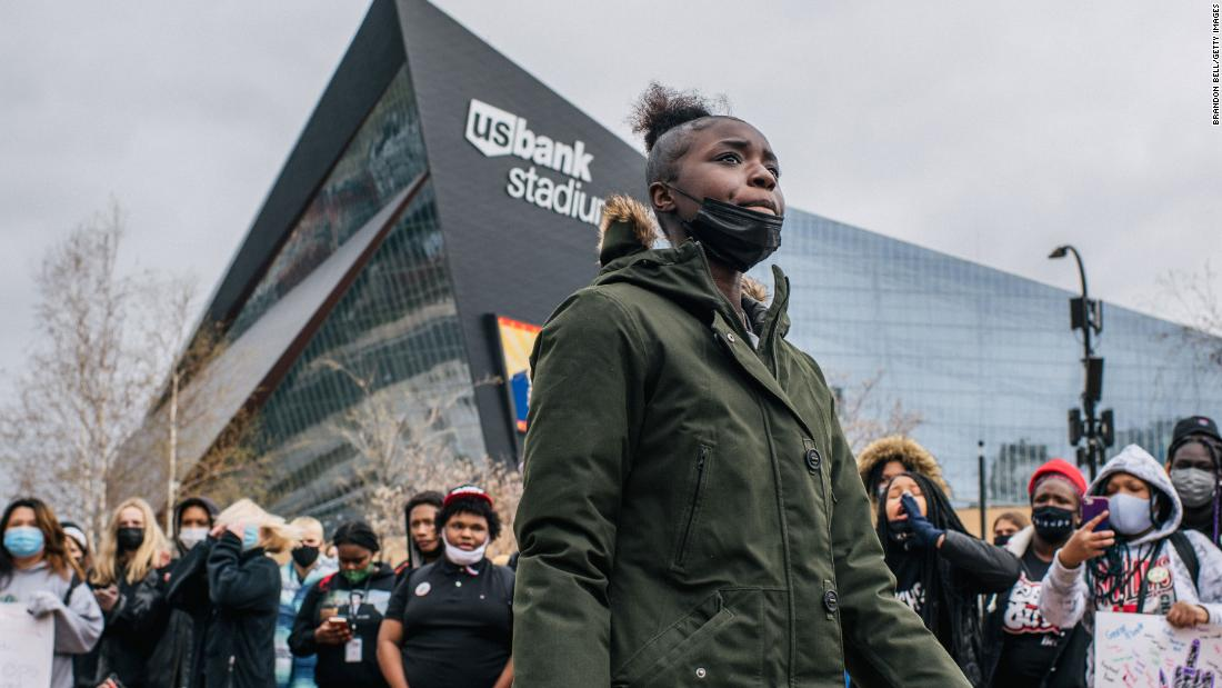 High school students from across Minneapolis participate in a statewide walkout on April 19. They gathered at U.S. Bank Stadium to stand in solidarity against racial injustice and honor the lives of George Floyd and Daunte Wright.