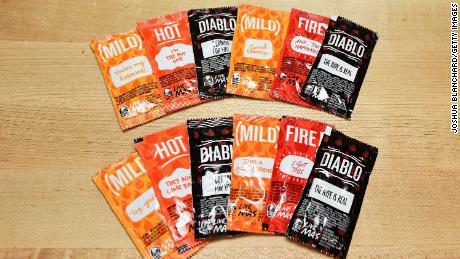 IRVINE, CA - SEPTEMBER 12:  Taco Bell's iconic sauce packets.  (Photo by Joshua Blanchard/Getty Images for Taco Bell)