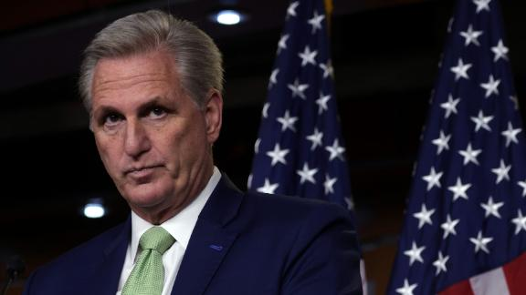 WASHINGTON, DC - APRIL 15: U.S. House Minority Leader Rep. Kevin McCarthy (R-CA) listens during a weekly news conference at the U.S. Capitol April 15, 2021 in Washington, DC. Leader McCarthy held his weekly news conference to answer questions from members of the press. (Photo by Alex Wong/Getty Images)
