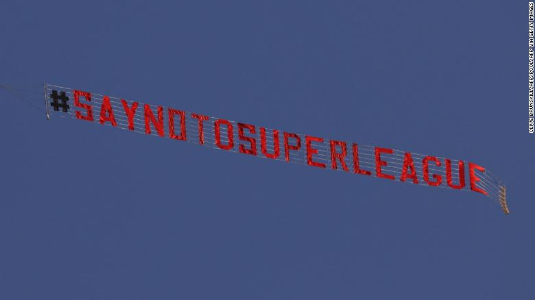 A plane flies over Elland Road in protest against the European Super League.