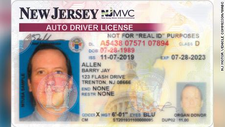 "This mock-up driver's license, provided by the state Motor Vehicle Commission, shows the ""X"" gender option."