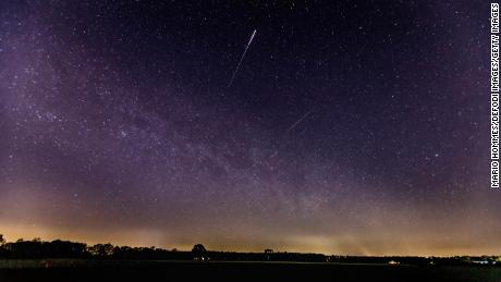 This is a meteor from the Lyrids, as seen in the sky in Schermbeck, Germany, April 22, 2020.
