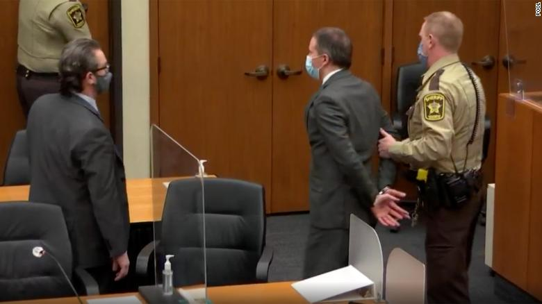 Former Minneapolis Police officer Derek Chauvin was removed from the court in handcuffs on Tuesday, April 20, 2021.