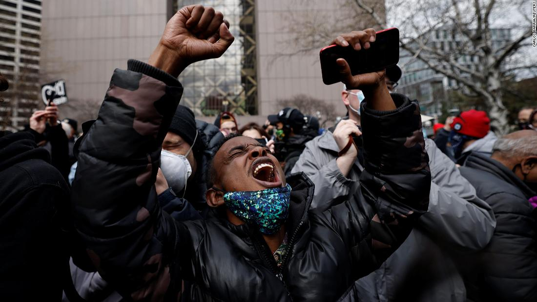 A man reacts outside the Hennepin County Government Center in Minneapolis on Tuesday, April 20, after former police officer Derek Chauvin was found guilty in the death of George Floyd.