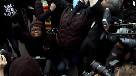 Celebrations outside courthouse while Chauvin verdict read