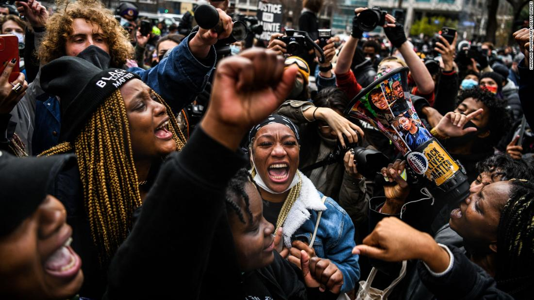 People celebrate the verdict outside the Hennepin County Government Center in Minneapolis.