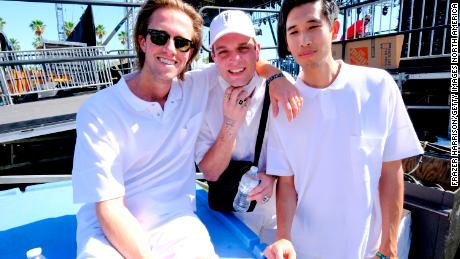 (From left) Sir Sly's Hayden Coplen, Landon Jacobs and Jason Suwito pose backstage during the 2018 Coachella Valley Music and Arts Festival Weekend 1 in Indio, California.