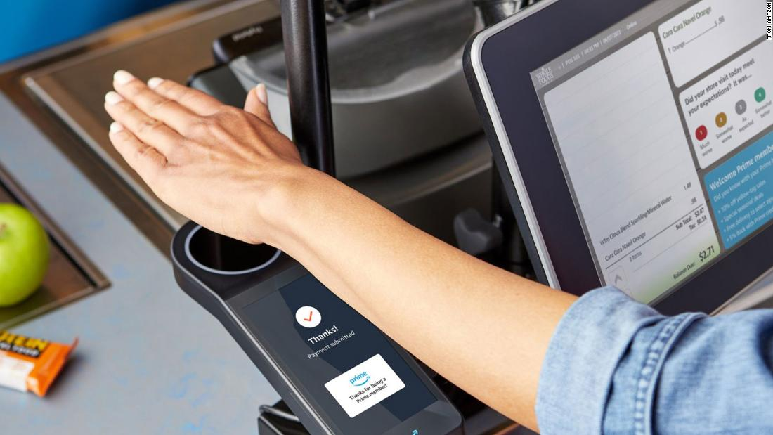 To pay at Whole Foods, scan your palm