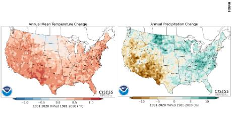 These two side-by-side maps of the contiguous United States depict the change in U.S. annual mean temperatures (in degrees; left map) and precipitation totals (% change; right map) between the new set of Climate Normals, 1991-2020 (most recent last 3 decades) and the previous set of Normals, 1981-2010. (NOAA NCEI)