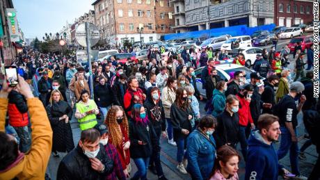 Participants attend a rally in support of Alexey Navalny in Vladivostok on April 21, 2021.