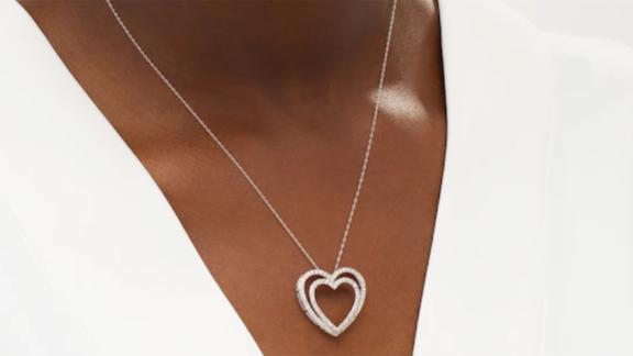 1-Carat T.W. Diamond Double Heart Outline Pendant