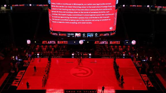 ATLANTA, GEORGIA - APRIL 20:  The Atlanta Hawks and Orlando Magic observe the guilty verdicts in the Derek Chauvin case prior to the game at State Farm Arena on April 20, 2021 in Atlanta, Georgia.  NOTE TO USER: User expressly acknowledges and agrees that, by downloading and or using this photograph, User is consenting to the terms and conditions of the Getty Images License Agreement. (Photo by Kevin C. Cox/Getty Images)