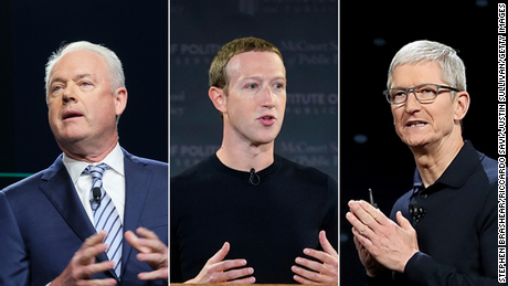 From left to right: Starbucks CEO Kevin Johnson, Facebook CEO Mark Zuckerberg and Apple CEO Tim Cook all issued statements on April 20, 2021 reacting to former Minneapolis Police officer Derek Chauvin being found guilty in the murder of George Floyd.