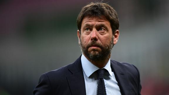 Juventus FC President Andrea Agnelli looks on prior to the Italian Serie A football match AC Milan vs Juventus played behind closed doors on July 7, 2020 at the San Siro stadium in Milan, as the country eases its lockdown aimed at curbing the spread of the COVID-19 infection, caused by the novel coronavirus. (Photo by Miguel MEDINA / AFP) (Photo by MIGUEL MEDINA/AFP via Getty Images)