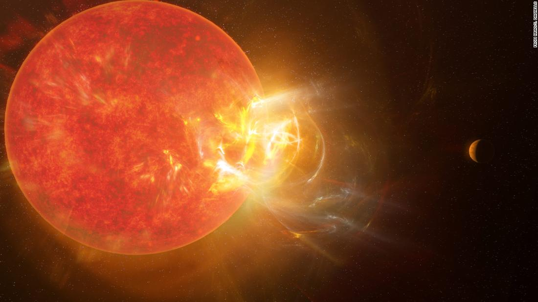 Record-breaking flare erupts from neighboring star