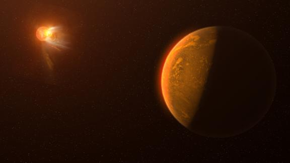 This artist's conception depicts a violent flare erupting on the star Proxima Centauri as seen from the viewpoint of a planet orbiting the star called Proxima Centauri b.