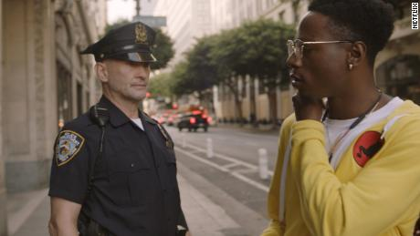 "Andrew Howard as Merk, left, and Joey Bada$$ as Carter in ""Two Distant Strangers."""