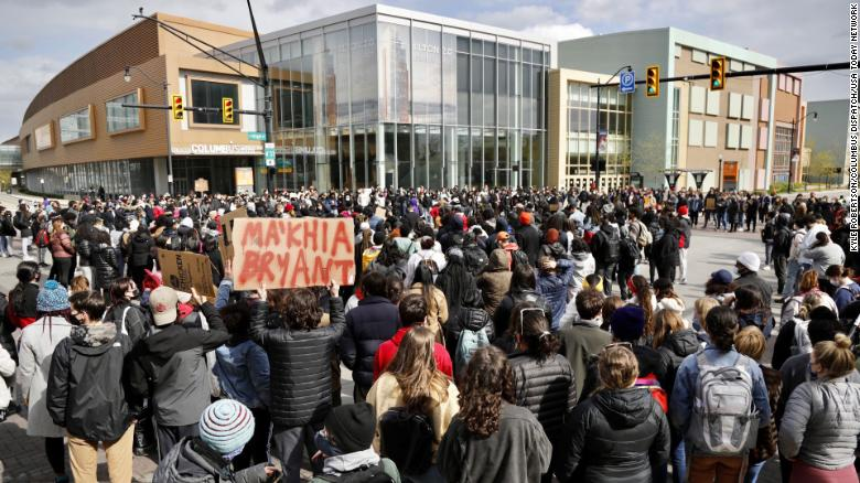 Ohio State students gather on High Street to protest the police shooting that killed Ma'Khia Bryant.